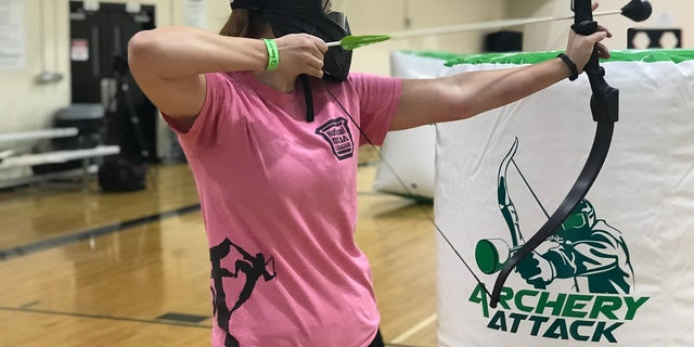 Karen Staples has been playing Archery Attack since it began at Ninja Quest in the summer of 2017, Marietta, GA.