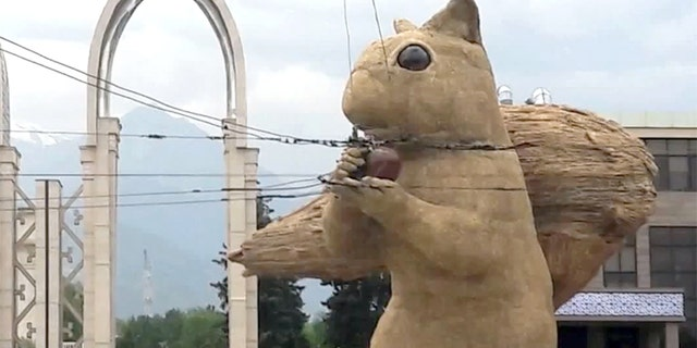 A 40-foot squirrel is causing chaos in one Kazakhstan city.