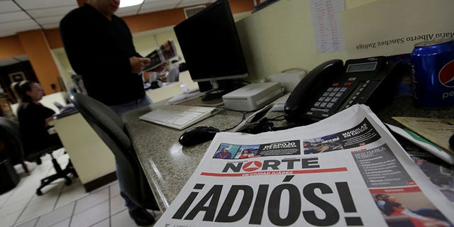 El Norte newspaper pictured after the paper announced its closure due to what it says is a situation of violence against journalists in Ciudad Juarez, Mexico, April 2, 2017.