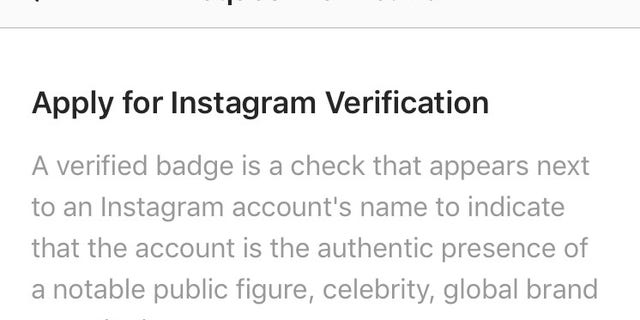 Instagram users simply have to fill out their full name and attach a photo ID to apply for verification.