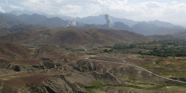Smokes rises after U.S airstrike hit the site of insurgent activity in Nangarhar province, Afghanistan July 7, 2018