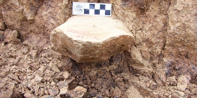 One of the artifacts gets excavated from a layer that is 2.1 million years old. The artifact here is a stone from which three flakes were removed. Credit: Zhaoyu Zhu