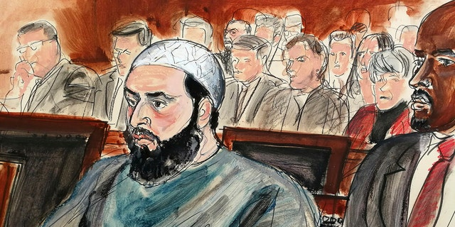 Rahimi, seen in this court room sketch, was sentenced to multiple life terms in prison for setting off small bombs in two states.