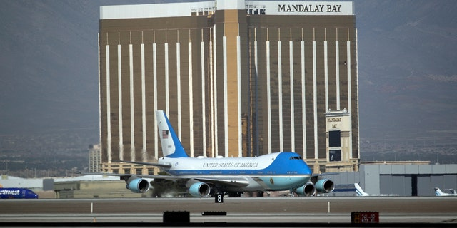 Air Force One carrying President Trump taxis on the runway past the Mandalay Bay Resort and Casino in Las Vegas, Oct. 4, 2017.