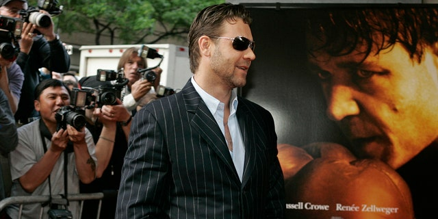 "FILE - In this June 1, 2005 file photo, Russell Crowe arrives for the premiere of ""Cinderella Man"" in New York."