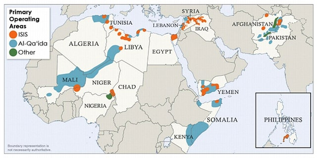 Al Qaeda operating areas inlcude portions of Africa, the Middle East and Southwest Asia.