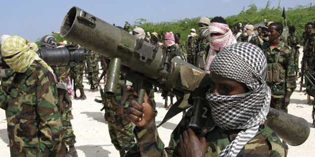 Al Shabaab fighters are seen in Somalia.