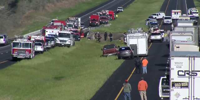 The charter bus heading to Texas fell into a ravine early Tuesday morning.