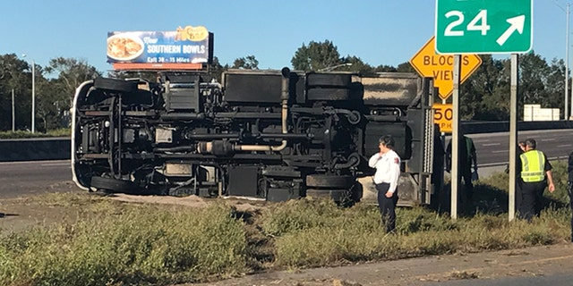 The ambulance driven by Jamon Stegall flipped over on Interstate 10 at the end of the chase, police said.