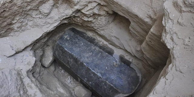 The giant black granite sarcophagus discovered in Alexandria, Egypt. (Egyptian Ministry of Antiquities)
