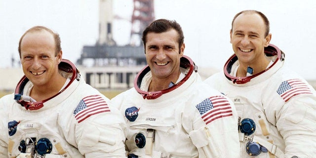 "Apollo 12 astronauts, left to right, Charles ""Pete"" Conrad, Richard Gordon and Alan Bean."