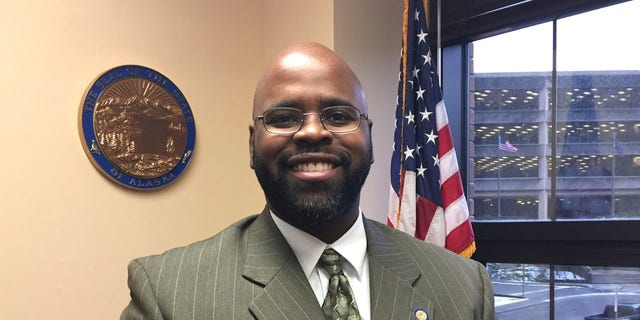This Jan. 23, 2017, file photo shows Alaska state Sen. David Wilson posing in his Capitol office in Juneau, Alaska