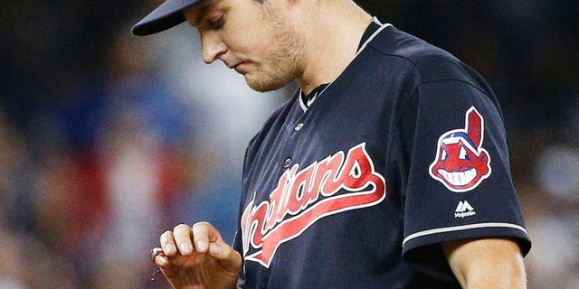 TORONTO, ON - OCTOBER 17 - Trevor Bauer #47 of the Cleveland Indians looking at his bloodied finger during the first inning in Game 3 of the ALCS baseball series against the Toronto Blue Jays at the Rogers Centre in Toronto, October 17, 2016 (Carlos Osorio/Toronto Star via Getty Images) (Carlos Osorio/Toronto Star via Getty Images)