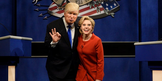 "Alec Baldwin as Donald Trump (left) and Kate McKinnon as Hillary Clinton on ""Saturday Night Live."""