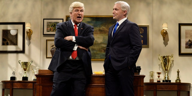 """Pictured: (l-r) Alec Baldwin as Donald Trump and Beck Bennett as Mike Pence during the """"Donald Trump Prepares Cold Open"""" sketch on """"SNL"""" November 19, 2016."""