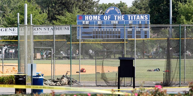 The baseball field that is the scene of a shooting in Alexandria, Va., Wednesday, June 14, 2017, where House Majority Whip Steve Scalise of La. was shot at a congressional baseball practice. (AP Photo/Alex Brandon)
