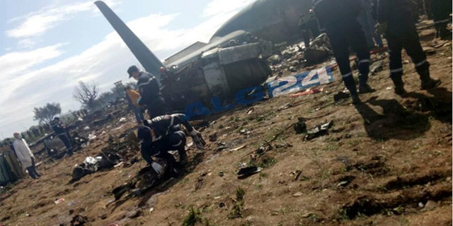 April 11, 2018: An image posted by Algerian news agency ALG24 shows first responders working at the scene of the crash.