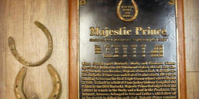Among the items recovered by police was a plaque honoring Majestic Prince, winner of the 1969 Kentucky Derby and Preakness.
