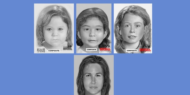 Composites of the four victims found stuffed inside barrels in Allenstown, New Hampshire. Authorities believe they were murdered by serial killer Terry Peder Rasumssen.