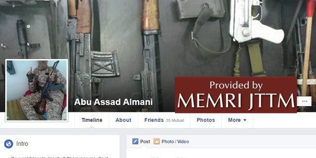 A screenshot of the fighter's Facebook page