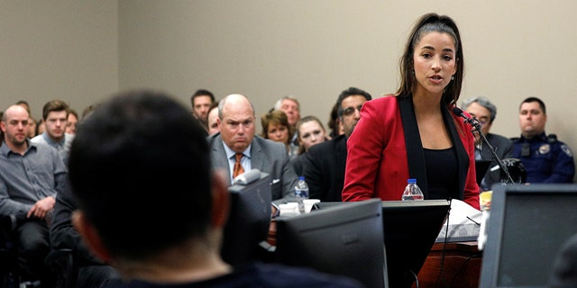 Olympic gold medalist Aly Raisman confronted Larry Nassar in court Friday, Jan. 19, 2018.