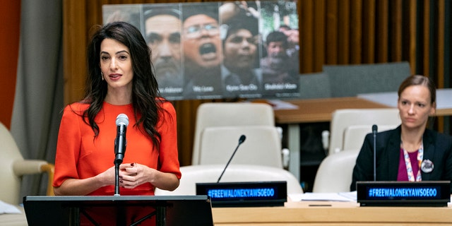 """International human rights lawyer Amal Clooney speaks during a conference called """"Press Behind Bars: Undermining Justice and Democracy,"""" at the 73rd session of the United Nations General Assembly, at U.N. headquarters, Friday, Sept. 28, 2018. (AP Photo/Craig Ruttle)"""