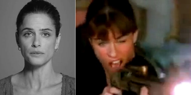 Amanda Peet is shown in the 'Demand a Plan' PSA (left) and using a firearm in a film in new response video (right).