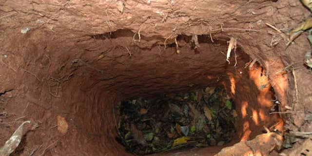File photo - One of the holes dug by the man. (Survival International)