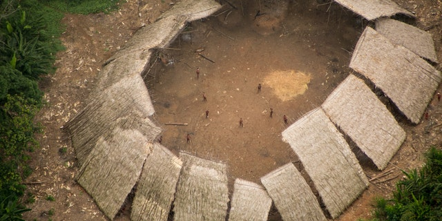 Uncontacted Yanomami yano (communal house) in the Brazilian Amazon, photographed from the air in 2016