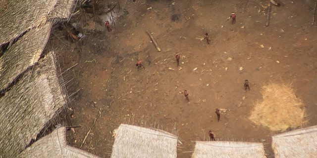 Uncontacted Yanomami seen from the air in the center of their yano, estimated to be home to around 100 individuals  (© Guilherme Gnipper Trevisan/FUNAI/Hutukara).