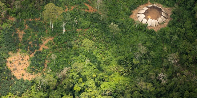 Uncontacted Indians' yano in the Yanomami indigenous reserve. (© Guilherme Gnipper Trevisan/FUNAI/Hutukara)