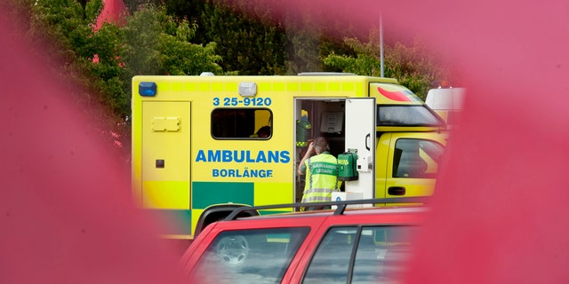 File photo - An ambulance is seen outside the Peace & Love music festival near Borlange, central Sweden, June 26, 2012. Seventeen festivalgoers had to be taken to hospital with minor injuries after been struck by lightning at the festival site. (REUTERS/Ulf Palm/Scanpix)
