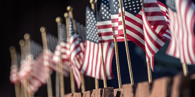 The man allegedly urinated on flags like these in the cemetery.