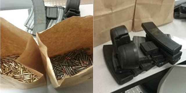 Ammo and magazine clips seized from Jerron Smith in Florida.