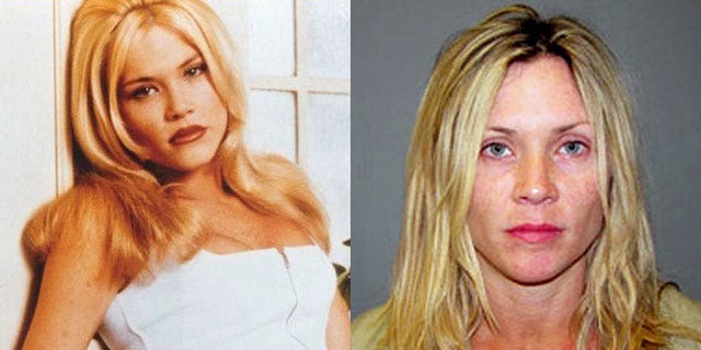 """Amy Locane-Bovenizer on """"Melrose Place' and in her booking photo. (FOX/AP)"""