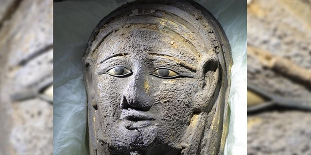 A silver facemask gilded with gold was found on the face of the mummy. Credit: University of Tübingen, Ramadan B. Hussein