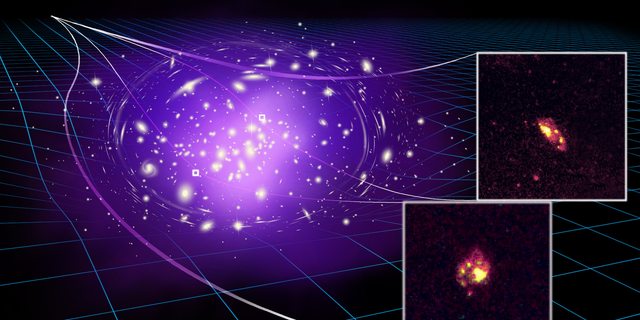 The two small, inset images show actual observations of the most ancient spiral galaxy ever observed. The rest of the image is an artist's illustration showing how a massive galaxy cluster bends and magnifies the light from the distant galaxy, making it visible to astronomers on Earth.