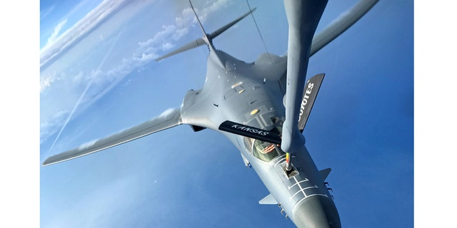 One of two U.S. Air Force B-1B Lancer aircraft is refueled during a mission to fly in the vicinity of Kyushu, Japan, the East China Sea, and the Korean peninsula June 20, 2017. North Korea is setting its sites on Guam because it has two key military bases the U.S. uses to conduct exercises in Southeast Asia