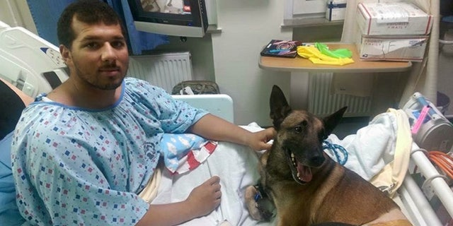 Spc. Andrew Brown and Rocky at the military hospital in Germany are expected to recover from their injuries.