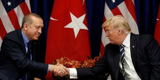 President Trump, right, meets with President Recep Tayyip Erdoğan of Turkey during the U.N. General Assembly in New York.
