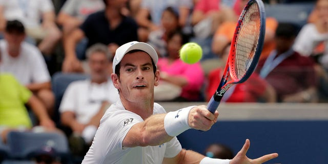 Andy Murray returning a shot against James Duckworth.