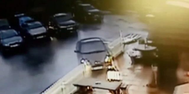 The driver mowed through outdoor tables and seating before pulling out of the parking lot and onto the road.