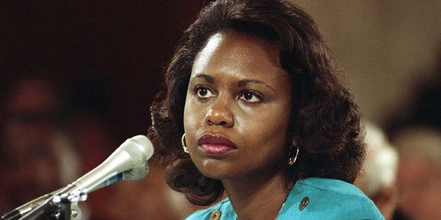 This file photo from 1991 shows Anita Hill, then University of Oklahoma Law Professor, testifying in front of the Senate Judiciary Committee that she was sexually harassed by Clarence Thomas.