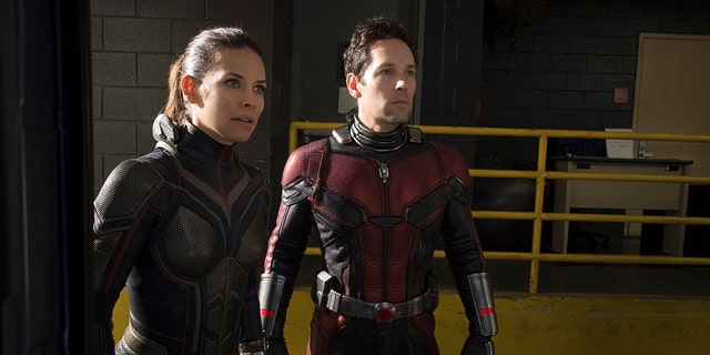 This image released by Marvel Studios shows Evangeline Lilly, left, and Paul Rudd in a scene from 'Ant-Man and the Wasp.'