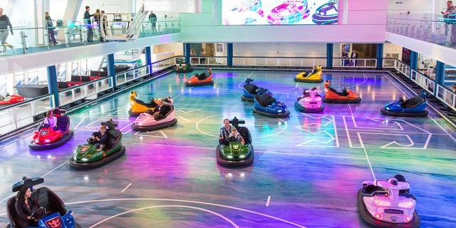 The SeaPlex, a bi-level Deck 15 play zone offering basketball, bumper cars, roller skating, and even a circus school with a flying trapeze.