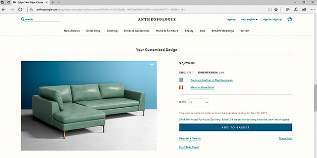 Anthropologie's Eldyn sectional sells for between $3,298 and $7,798.