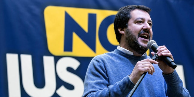 Northern League party leader Matteo Salvini delivers a speech during a demonstration against the Ius Soli law granting citizenship to immigrants' children in Rome, Sunday, Dec. 10, 2017.