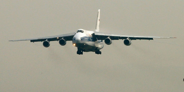 An Antonov AN-124 like this one was used to ship an 87,000-pound die machine to the U.K.
