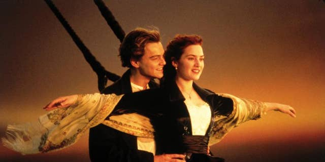 """Jack Dawson (Leonardo DiCaprio) holds Rose DeWitt Bukater (Kate Winslet) in a famous scene from """"Titanic.""""(They should have never let each other go!)"""