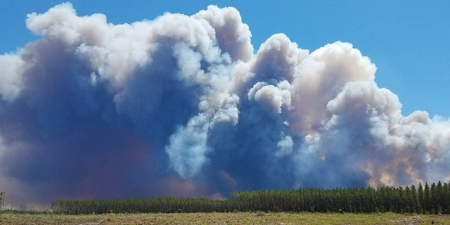 Smoke is seen rising from a wildfire around Fargo, Georgia on Saturday. Residents in St. George, Canaday Loop and Moniac have been ordered to evacuate.